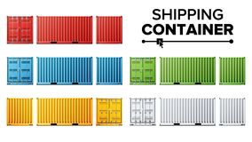 Shipping Cargo Container Set Vector. Freight Shipping Container Concept. Logistics, Transportation. Isolated On White. 3D Cargo Container Vector. Classic Cargo vector illustration