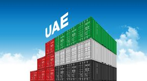 Shipping Cargo Container Uae Flag For Logistics And