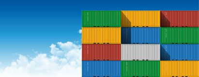 Shipping Cargo Containers. Shipping Cargo Container for Logistics and Transportation with clouds stock images