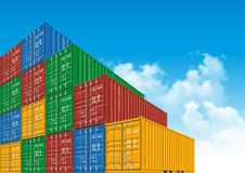Shipping Cargo Containers for Logistics and Transportation. Colorful Shipping Cargo Containers for Logistics and Transportation. Perspective view Stock Images