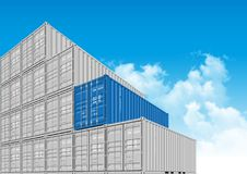 Shipping Cargo Containers for Logistics and Transportation. Colorful Shipping Cargo Containers for Logistics and Transportation. Perspective view Stock Photos