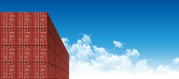 Shipping Cargo Containers for Logistics and Transportation. Red Shipping Cargo Containers for Logistics and Transportation. Perspective view Stock Photos