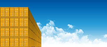 Shipping Cargo Containers for Logistics and Transportation. Yellow Shipping Cargo Containers for Logistics and Transportation. Perspective view Royalty Free Stock Photos
