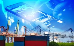 Shipping cargo crane and container ship in export and import business and logistics in harbor industry and water transport. International / Businessman use stock images