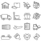 Shipping, cargo, delivery, distribution, freight and warehouse l. Shipping, cargo, delivery, distribution, freight and warehouse web line icon set stock illustration