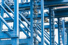 Shipping cargo to harbor by crane,tianjin,china stock photos
