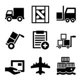 Shipping, Cargo, Warehouse and Logistic Icons Set Stock Photography