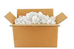 Shipping Carton. Cardboard shipping carton full of styrofoam peanuts royalty free stock image