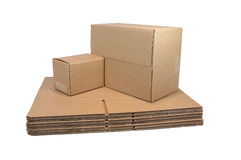 Shipping Cartons  (with clipping path). Flat and sealed shipping cartons Stock Images