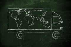 Shipping company vehicle with world map design Stock Images