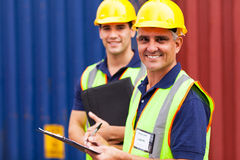 Shipping company workers Stock Image