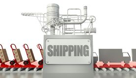 Shipping concept, cardboard boxes and trucks Stock Photo