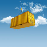 Shipping Container. High quality 3D render shipping container during transport stock image