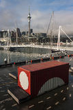 Shipping container in Auckland harbour Royalty Free Stock Photos