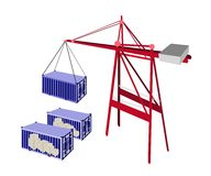 Shipping Container Being Hoisted By A Crane. Royalty Free Stock Image