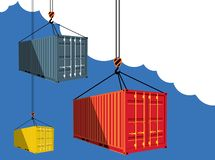 Shipping container on blue sky. Background. Delivery logistics and transportation vector illustration. Commercial freight company poster. Global import and royalty free illustration