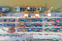 Shipping container cargo pier trade port in the city. Of riverside stock image