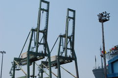 Shipping Container Cranes Stock Photography
