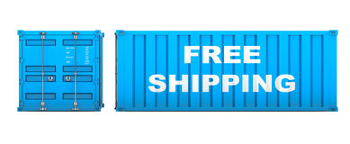 Shipping Container with Free Shipping Sign. 3d rendering Stock Photo