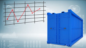 Shipping container with graph of price changes Stock Photos