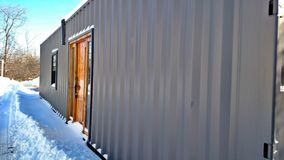 Shipping Container Home. This is a 40ft shipping container turned into a home. Built in Michigan Stock Photography