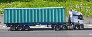 Shipping container and lorry Stock Photos