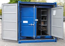 Shipping container. Open door at new shipping cargo container Royalty Free Stock Photography
