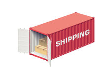 Shipping container open Stock Image