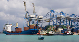 Shipping - Container Port in Malta. Shipping - Malta Freeport. The Container Port in Pretty Bay on the Island of Malta stock photo