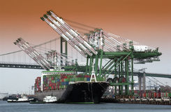 Shipping - Container Port. A container ship in the port of Long Beach in California in the United States of America stock photo