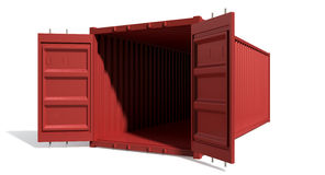 Shipping Container Red Open Empty Stock Photos