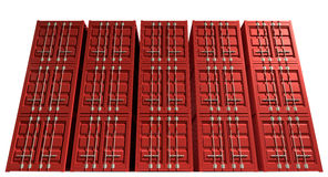 Shipping Container Red Stack Royalty Free Stock Photo