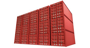 Shipping Container Red Stack Stock Images