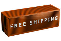 Shipping container with words free shipping Stock Images