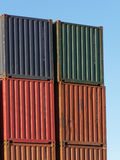 Shipping Containers. Stacked shipping containers in shipping yard Stock Images