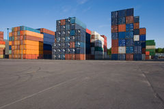 Shipping containers. Piled in the harbor area Royalty Free Stock Images