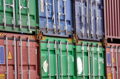 Shipping Containers. Cargo shipping containers stacked up at port royalty free stock photo