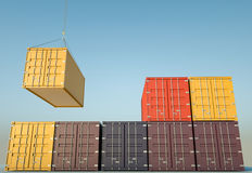 Shipping Containers. Cargo containers. 3D rendered image Stock Image