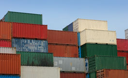 Shipping containers 2. Shipping containers waiting to be loaded on a cargo ship stock images