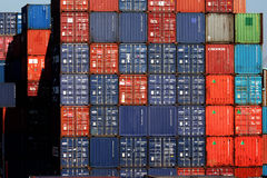 Shipping Containers. At the Port of Rotterdam. The port of Rotterdam is the largest and busiest port in Europe and is located in Rotterdam, the Netherlands stock photography