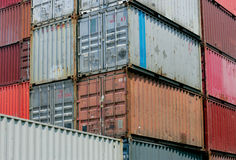 Shipping containers. Waiting to be loaded on a cargo ship royalty free stock image