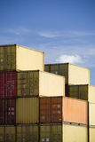 Shipping containers against blue sky royalty free stock images
