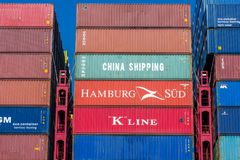 Shipping containers closeup Stock Images