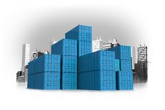 Shipping Containers Concept. Blue International Shipping Containers Concept Illustration with Cityscape in Background. Cargo and Shipping Concept Royalty Free Stock Image