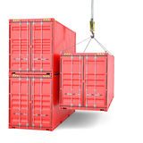 Shipping containers with crane hook Stock Photography