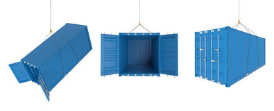 Shipping containers in different positions - blue. Set of metal freight shipping containers on the hooks in different possitions, blue colour - photorealistic 3d Stock Image