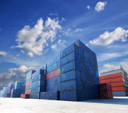 Shipping containers at the docks Royalty Free Stock Images