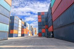 Shipping containers at the docks Stock Photos
