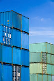 Shipping containers at harbor terminal Royalty Free Stock Photos