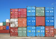 Shipping containers. Havre Stock Photo